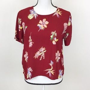 Madewell Red Floral Short Sleeve Blouse